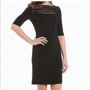 Adrianna Papell | Black Banded Illusion Dress sz 8